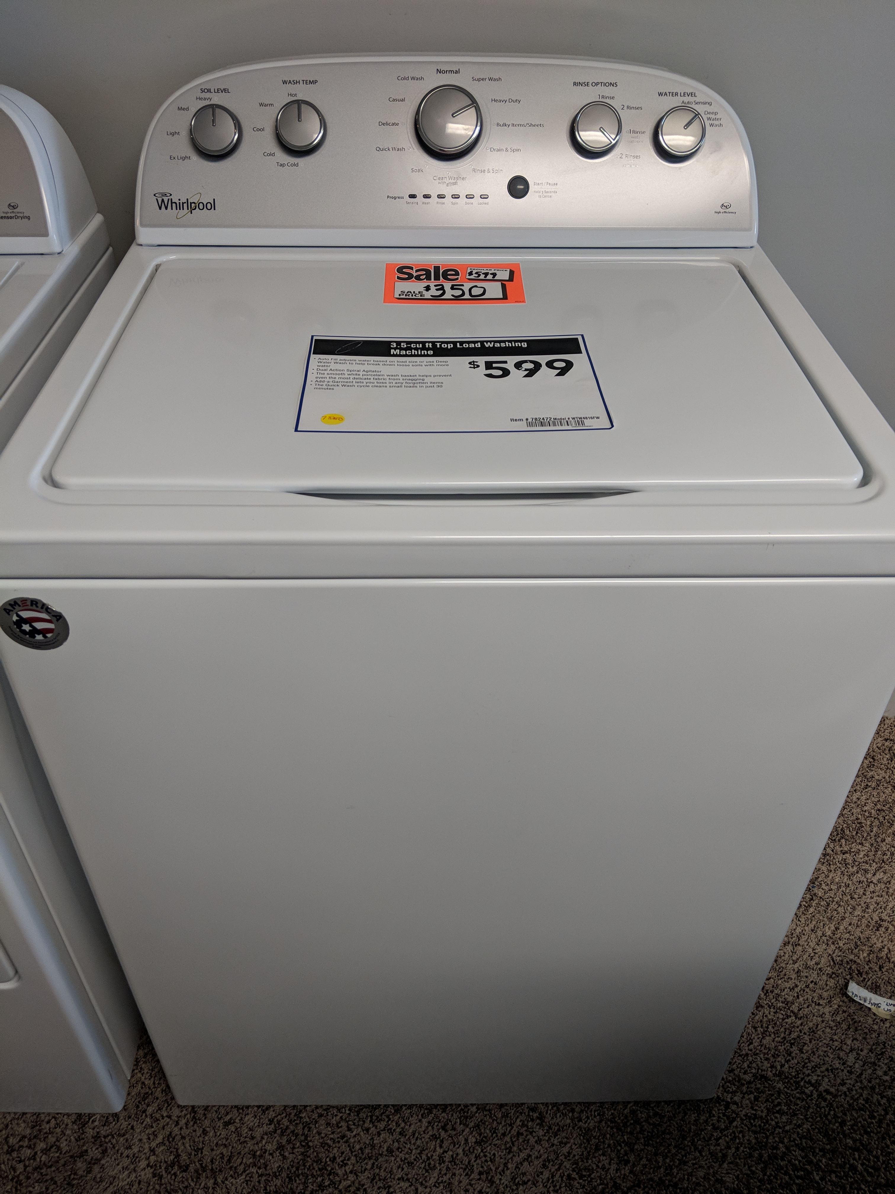 Whirlpool Washer With Agitator >> Sold Whirlpool 3 5 Cu Ft Top Load Washer With Agitator White
